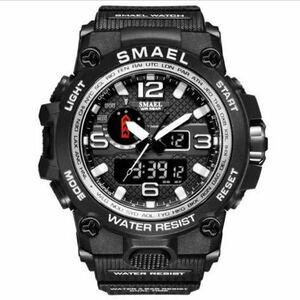 【1円スタート!】最落なし!海外人気ブランド SMAEL S-SHOCK アーミーseries メンズ高品質腕時計 防水 アナログ&デジタル Bシルバー♪