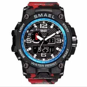 【1円スタート!】最落なし!海外人気ブランド SMAEL S-SHOCK アーミーseries メンズ高品質腕時計 防水 アナログ&デジタル 迷彩レッド♪