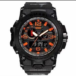 【1円スタート!】最落なし!海外人気ブランド SMAEL S-SHOCK アーミーseries メンズ高品質腕時計 防水 アナログ&デジタル 迷彩Bオレンジ♪