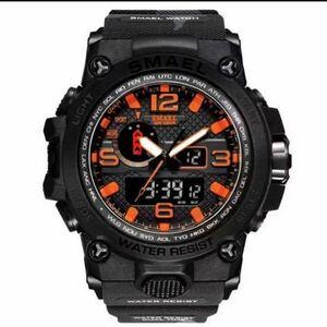 【1円スタート!】最落なし!海外人気ブランド SMAEL S-SHOCK アーミーseries メンズ高品質腕時計 防水 アナログ&デジタル.迷彩Bオレンジ♪