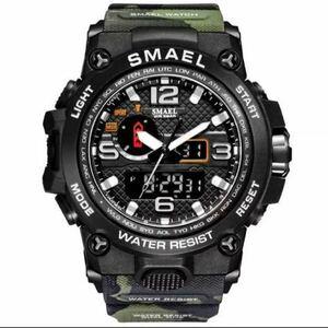 【1円スタート!】最落なし!海外人気ブランド SMAEL S-SHOCK アーミーseries メンズ高品質腕時計 防水 アナログ&デジタル 迷彩グリーン♪