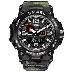 【1円スタート!】最落なし!海外人気ブランド SMAEL S-SHOCK アーミーseries メンズ高品質腕時計 防水 アナログ&デジタル 迷彩グリーン♪1