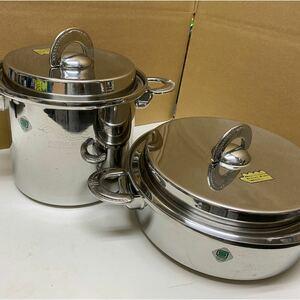 NATURAL WARE ステンレス18-10 浅型両手鍋と深型鍋セット IH対応