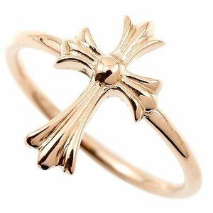 リング クロス ピンクゴールドk18 ゴールド 指輪 十字架 地金 ピンキーリング 18金 レディース 人気 ユニセックス 男女兼用 送料無料
