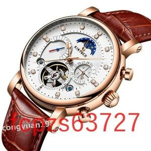 Oq006:メンズ腕時計 高級機械式 自動巻き カレンダー 曜日表示 トゥールビヨン サン&ムーン 男性ウォッチ 防水 本革ベルト