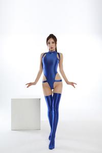 水着上下セット コスプレ衣装 ハイレグレオタード レースクイーンレオタード ブルー フリーサイズ