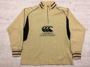 カンタベリー CANTERBURY OF NEW ZEALAND スポーツ ラグビー ハイネック長袖スウェットトレーナー メンズ 刺繍 ハーフジップ M ベージュ
