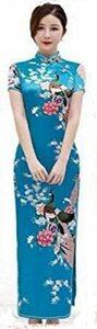ブルー XXL 【美々杏】ロング丈 チャイナドレス サテン つるつる 孔雀と牡丹模様 コスプレ ハロウィン 舞台衣装 (ブルー,