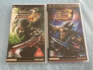 21-PSP-100 プレイステーションポータブル モンスターハンターポータブル 2nd G、3rd セット 動作品 PSP