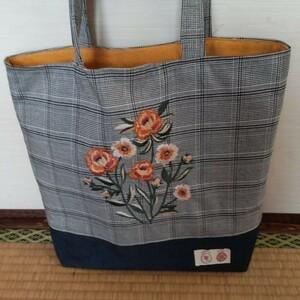 ハンドメイド トートバッグ刺繍花柄