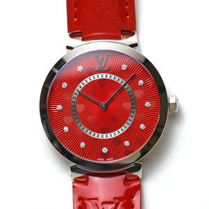 ルイヴィトン LOUIS VUITTON タンブール クールルージュ Q1G07 クォーツ 11Pダイヤモンド レディース 女性用 腕時計 研磨仕上げ済み 中古