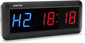 ブルー/レッド Jhering 1.5 インチ 6デジタル LED インターバル タイマー ストップウォッチ カウントダウン ク