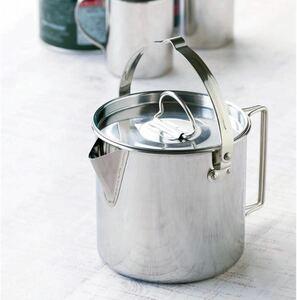 ステンレスケトル 1.2L 携帯用ポーチ付き 軽量 丈夫 目盛り付き アウトドア 調理器具 コンパクト収納 湯沸かしポット