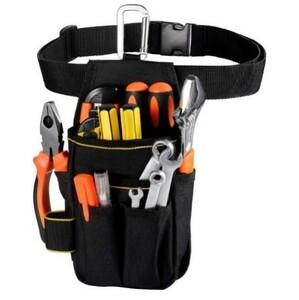 送料無料 工具入れ 腰袋 工具袋 小物入れ 作業袋 ウエストバッグ カラビナフック ベルト付 多機能ポケット コンパクト設計