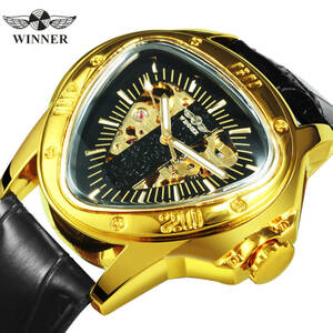 【送料無料】男性腕時計 機械式 自動巻き メンズウォッチ 三角盤 スケルトン 革ベルト 希少 新品 夜光 ビジネス All Gold*