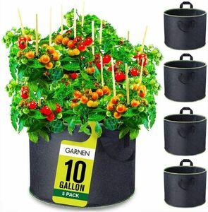 【4383】プランターバッグ37L×5個セット 10ガロン 高さ30cmX直径41cm 不織布栽培袋 再利用可能 布鉢 通気性 家庭菜園 持ち手付き フエルト