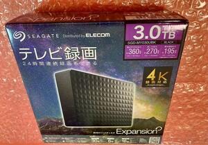 未使用★Seagate★3TB★SGD-MY030UBK/USB3.2(Gen1)縦横置き可/TV録画/Win/Mac/PS5対応
