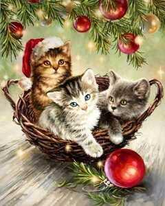 クロスステッチキット クロスステッチ 猫 ネコ クリスマス インテリア 刺繍キット 刺繍