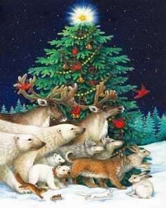 クロスステッチ クリスマス ツリー 刺繍キット 刺繍 ハンドメイド 動物