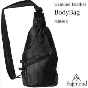 Fujimond 本革ボディバッグ メンズバッグ ショルダーバッグ 斜め掛けバッグ 高品質ブラック