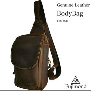 Fujimond 厚手本革ボディバッグ ショルダーバッグ メンズバッグ 牛革 レザー ワンショルダーバッグ