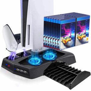 PS5 DE/UHD縦置き冷却ファン 超静音 コントローラー 充電スタンド 2台