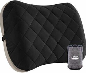 キャンプ枕 携帯枕 トラベルピロー コットンカバー付き コンパクト エアー枕 キャンプ 空気枕 腰枕 超軽量 コンパクト 収納袋付