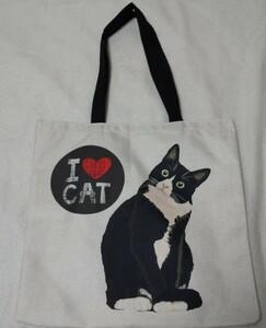 ハチワレ猫 トートバッグ /// エコバッグ ショルダーバッグ 黒 猫 アニマル プレゼント 誕生日  toto289