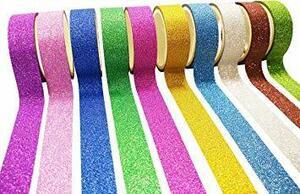 キラキラ 和紙テープ ラメ粉が塗された デコレーション用 シール マスキングテープ 3M×10巻 10色セット