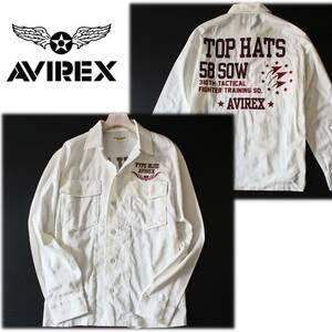 《AVIREX アヴィレックス》新品訳有 TOP HATS 58SOW ビッグロゴ刺繍 ミリタリーシャツジャケットゆったりサイズ L A4684