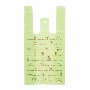 柄 レジバッグ レジ袋 ビニール袋 カフェ グリーン S 100枚 幼稚園 保育園 飲食店 パン屋 フリーマーケット