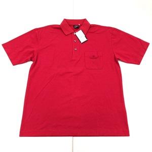 新品 DUNLOP ダンロップ 吸水速乾 ロゴ刺繍 ドライ ゴルフシャツ L 赤 レッド メンズ 半袖 ポロシャツ 日本製 国内正規品