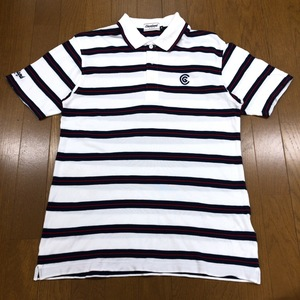Cleveland クリーブランド ロゴ刺繍 ゴルフシャツ M 白 ホワイト メンズ 半袖 ポロシャツ ボーダー 国内正規品