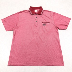 美品 DUNLOP ダンロップ 吸水速乾 ドライ ゴルフシャツ 3L 赤系 レッド系 メンズ 半袖 ポロシャツ 特大 大きいサイズ XXL 日本製