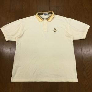 MUNSINGWEAR マンシングウェア 吸水速乾 ロゴ刺繍 ドライ ゴルフシャツ L 黄色 イエロー メンズ 半袖 ポロシャツ 日本製 国内正規品
