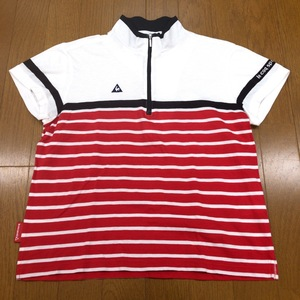 美品 le coq sportif GOLF ルコックゴルフ 吸水速乾 ロゴ刺繍 ハーフジップ ドライ ゴルフシャツ M レディース 半袖 国内正規品