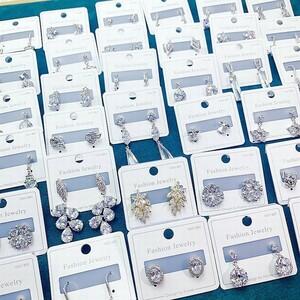 新品 イヤリング 宝石 ジュエリー レディース リング アクセサリー 12個セット 指輪 美品 まとめ売り 大量 ジルコン ed014
