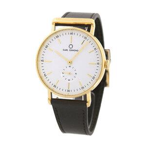 新品 送料無料 カールエドモンド CARL EDMOND メンズ 腕時計 北欧 CER4021-DBY21 40mm ホワイト×ダークブラウン 革ベルト 時計