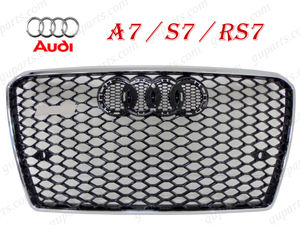◆ アウディ A7 S7 RS7 2011~2015 4G 4GCGWC 4GCEUL 4GCRDC フロント バンパー ラジエーター グリル クローム メッキ メッシュ カスタム