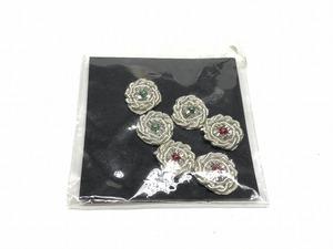 ノーブランド 手芸用品 花モチーフ 飾り 6個入り 銀 未使用 送料140円 手芸用品