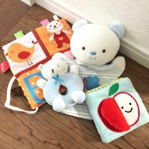 赤ちゃんの布製おもちゃ4点セット エドインター布絵本  ぬいぐるみ