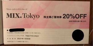 株主優待 MIX.Tokyo 20%OFF券 有効期限2021.11.30
