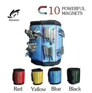 Da293☆ 磁気リストバンド 10個の強力な磁石 DIY ハンドブレスレット 電気技師ツールバッグ 工具箱 腰袋より便利 マグネット付