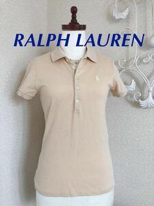 RALPH LAUREN ラルフローレン ポロシャツ 半袖 ベージュ サイズS レディース ロゴ刺繍 難あり 変色あり ジャンク品 トップス
