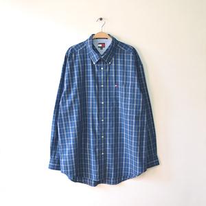 【送料無料】トミーヒルフィガー コットン 長袖シャツ BDシャツ ボタンダウン チェック柄 メンズXL ビッグサイズ TOMMY HILFIGER CA0422