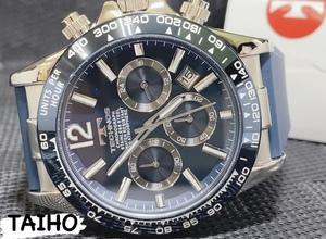★新作★ 新品 テクノス TECHNOS 正規品 腕時計 クオーツ クロノグラフ ラバーベルト 10気圧防水 シルバー ブルー タキメーター メンズ