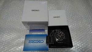 逆輸入 セイコー 腕時計 クロノグラフ 100m防水 全身黒塗ブラックIP加工 SEIKO 新品 未使用 激レア 日本未発売