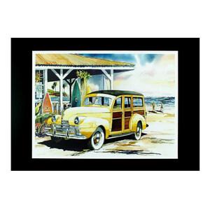 """ハワイアンポスター サーフィンと車 Z-90802 """"ウッディワゴン イラスト(イエロー)"""" プリントサイズ:縦20.5×横27.8cm"""