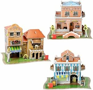 C 3D立体パズル 3点セット 手作りキット ビルディングセット 建築模型 ハウスキット 知育玩具 8歳以上 男の子 女の子 大