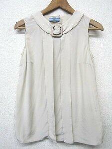 S1584:PRADA プラダ ブラウス/ベージュ/38/レディース シルク ノースリーブブラウス シルクシャツ ノースリーブシャツ:3
